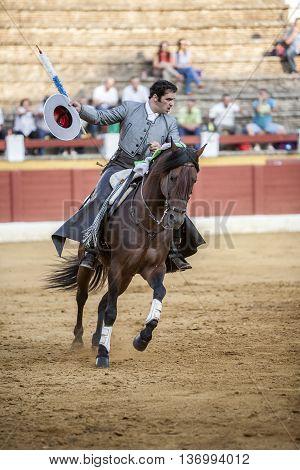 Andujar Spain - September 12 2009: Alvaro Montes bullfighter on horseback spanish Ubeda Jaen Spain