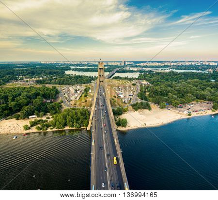 Aerial view of highway interchange of a city. Top view, from above. Outdoor. Moscow bridge. Kiev. Ukraine.