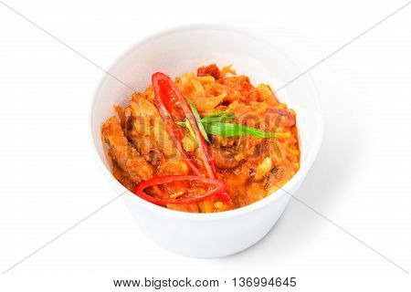 Mexican cuisine food delivery - chili con carne in white plastic plate closeup isolated at white background