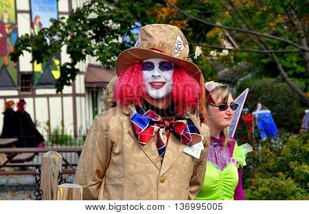 Mount Hope Pennsylvania - October 17 2015: Madcap clown-faced visitor at the annual Pennsylvania Renaissance Faire