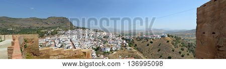 Panorama of Alora Andalucia Spain taken from castle wall.