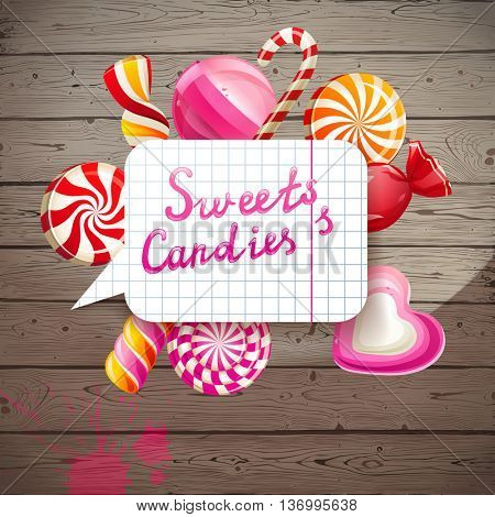 Bright creative background with sweets and candies