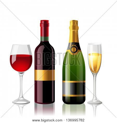 Red wine and champagne with 2 full glasses