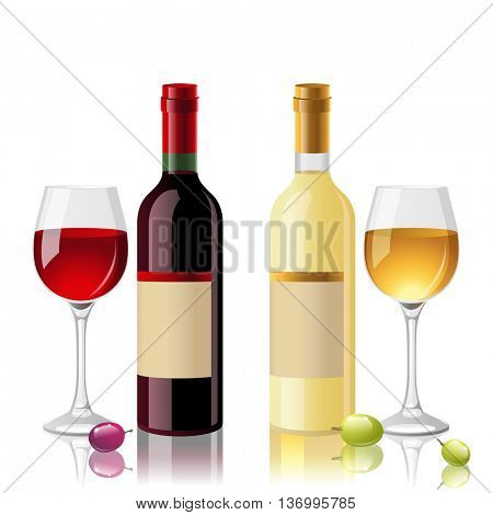 2 bottles of red and white wine with full glasses