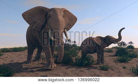3d illustration of walking elephants
