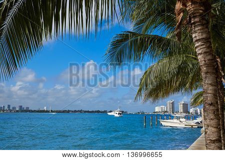 Miami Beach from MacArthur Causeway in Florida USA