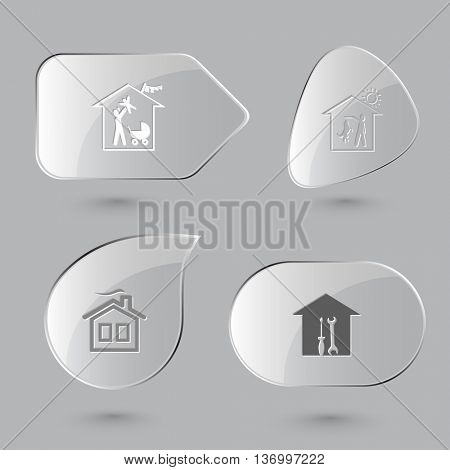4 images: family home, dog, workshop, frame. Home set. Glass buttons on gray background. Vector icons.
