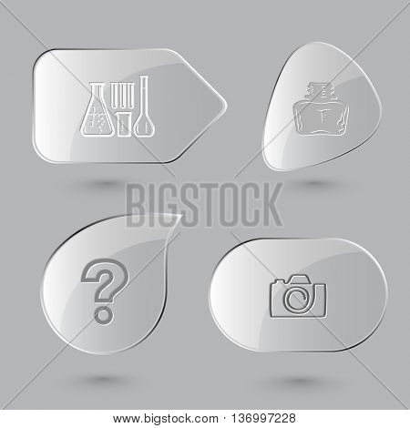 4 images: chemical test tubes, inkstand, query sign, camera. Education set. Glass buttons on gray background. Vector icons.