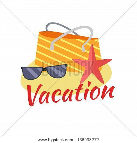Summer vacation concept illustration. Leisure on tropical sunny beach. isolated on white background. Beach bag, starfish, sunglasses on sand flat design vector.