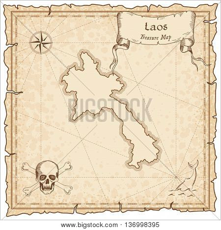 Lao People's Democratic Republic Old Pirate Map. Sepia Engraved Template Of Treasure Map. Stylized P
