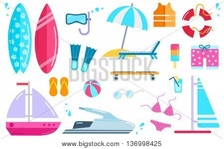 Variety of things for entertainment on beach and water in flat design. Surfboard mask, bal, cocktail, yacht fins, buoy, windsurfing, swimwear, lifejacket slippers, scooter vector illustration.