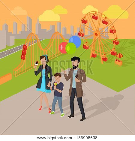 Family holiday in the amusement park vector illustration. City entertainment in the summer vacation concept. Man, woman and child eating ice-cream near roller coaster.