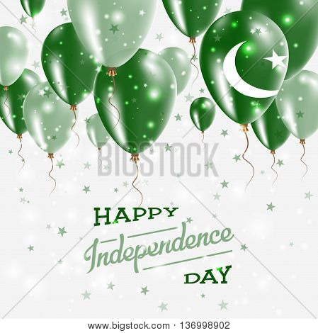 Pakistan Vector Patriotic Poster. Independence Day Placard With Bright Colorful Balloons Of Country