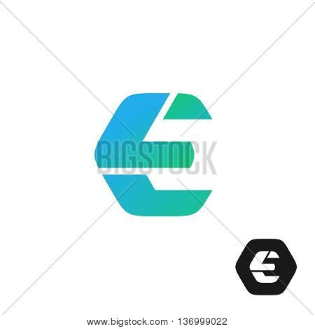 Letter E color tech industry style logo concept. Hex nut shape.