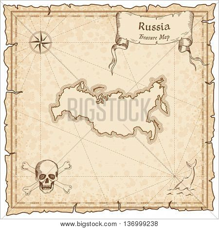 Russian Federation Old Pirate Map. Sepia Engraved Template Of Treasure Map. Stylized Pirate Map On V