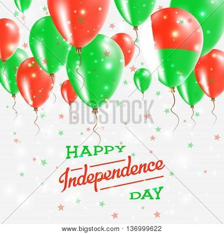 Madagascar Vector Patriotic Poster. Independence Day Placard With Bright Colorful Balloons Of Countr
