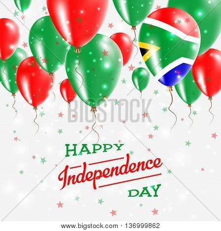 South Africa Vector Patriotic Poster. Independence Day Placard With Bright Colorful Balloons Of Coun