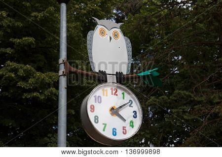 A clock in a park with a decorative owl on top of it