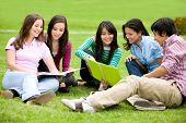 pic of young adult  - group of college students outdoors - JPG