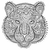 Постер, плакат: Tiger Head Zentangle Wildlife Vector Artwork Ornament