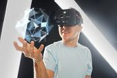 3d technology, virtual reality, science and people concept - close up of happy young man with virtua poster
