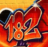 Graffiti image of the number 182