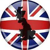 stock photo of superimpose  - Illustration of a union jack flag of Great Britain shaped like a globe with a map of the UK superimposed over the top - JPG