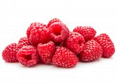 ripe raspberries isolated on white background close up poster