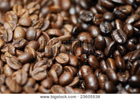 Decaffinated And Caffinated Coffee Beans.
