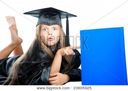 girl in black academic cap and gown
