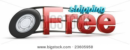 Free Shipping Icon With Text - Speeding Wheel