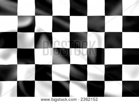 Rippled Silk Chequered Race Flag