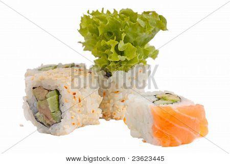 sushi on the white
