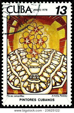 Vintage  Postage Stamp.  Amelia  Pelaez.  Flores  Amarillas.