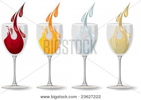 Glasses with wine, juice,champagne and water on white