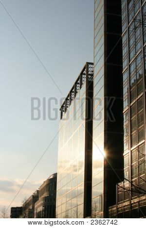 Sunset Reflecting On Building
