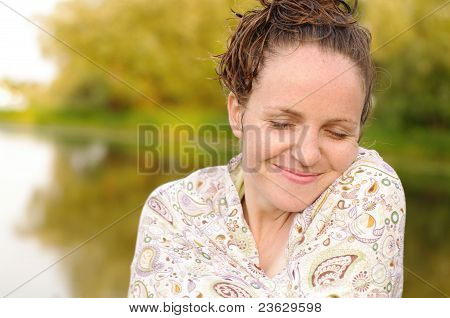 Happy Bather Woman Outdoors With Wet Hair