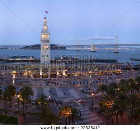 Embarcadero Building at dusk