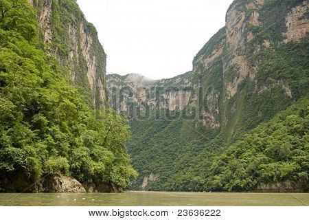 The Sumidero Canyon in Chiapas Mexico, the wall of rock reach 1600 yards (1000 meters)