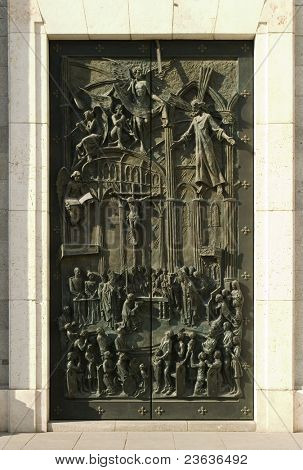Door in Almudena royal cathedral, Madrid Spain