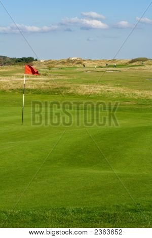 Seaside Golf Landscape At Falsterbo, Sweden In October. Putting Green With Sand Dunes Behind.