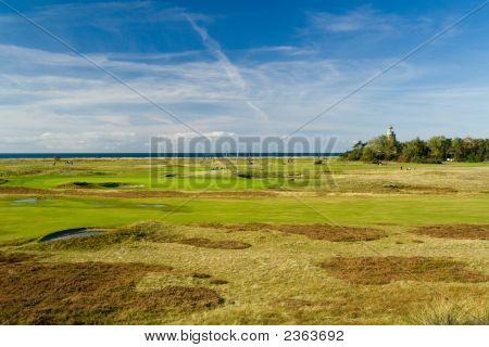 Seaside Golf Landscape At Falsterbo, Sweden. Lovely Day In October.