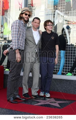 LOS ANGELES - SEP 19:  Ashton Kutcher,  Jon Cryer, Angus T. Jones at the Jon Cryer Hollywood Walk of Fame Star Ceremony at Hollywood Walk of Fame on September 19, 2011 in Los Angeles, CA