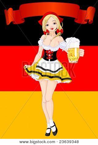 Vertical  Oktoberfest Celebration Background with girl serving beer