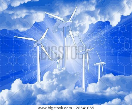 Ecology concept: wind-driven generators, rays of light & blue sky   52833043
