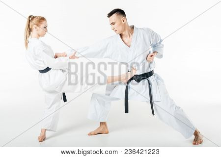 View Of Karate Fighters Exercising