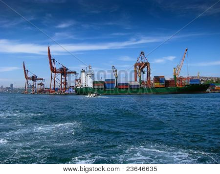 Container ship at harbor