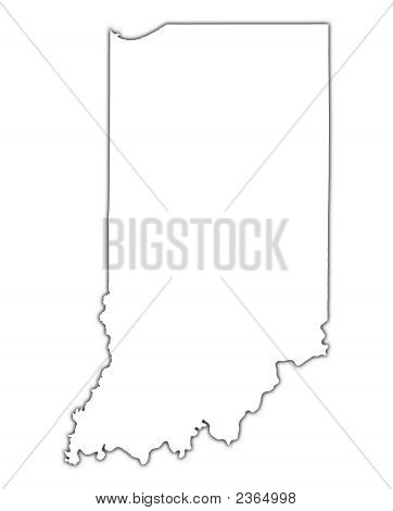 Indiana (Usa) Outline Map With Shadow