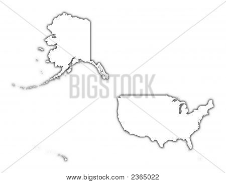 United States Outline Map With Shadow