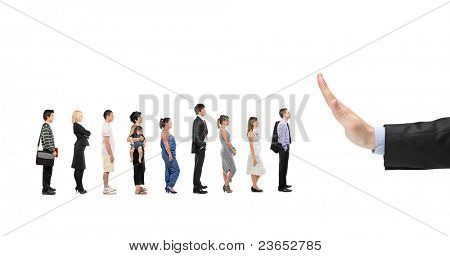People waiting in line and a hand gesturing stop isolated on white background
